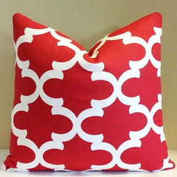 Red moroccan trellis pillow cover - Liven up a space with bold print and vibrant color. The color red mixes well with almost any color scheme.