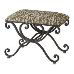 Uttermost - Uttermost Aleara Wrought Iron Small Bench - Spice up your home or office with this attractive and functional Uttermost Aleara wrought iron small bench. This small, high-style, premium-quality weathered wrought iron bench features beautiful scrollwork, and is perfect for any upscale space.