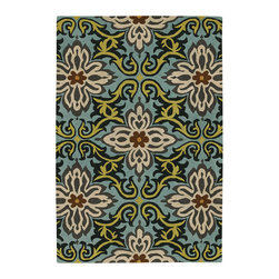 Amy Butler Rugs - Amy Butler Temple Garland Rug - Blue - Amy Butler Rugs - Designed by Amy Butler and made by master craftsmen and craftswomen. These rugs are truly handmade. From the hand-tufting & dying of the 100% New Zealand wool, to the hand-carving of the designs by masters using special scissors. Inspired by rich carvings in temples that celebrate life, this print is cheerful and graphic!