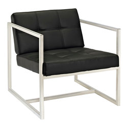LexMod - Hover Modern Reception Chair in Black - Embrace mid-century elements with this welcoming reception seating chair. Hover is a modern chair, but not for the typical reasons. Its padded vinyl buttoned seat and back, and geometric stainless steel frame, truly develop space and form in an innovative way. Hover is perfect both for those offices looking to impress new clients, and for anyone who ever dreamed of stationary flight.