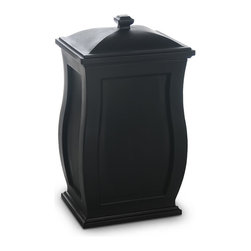Mayne Inc. - Mansfield Storage Bin Black - Our multi-purpose storage bin offers a perfect blend of style and function. The Mansfield is ideal for a backyard waste bin and includes a set of hooks to hang your waste bag. This storage bin is a great way to hide children's toys, gardening tools, bird seed, or bags of salt for the winter months. Multi-purpose storage bin. Molded from high-grade polyethylene.  Removable lid with snap fit design. Includes 2 waste bag hooks. Storage capacity is approximately 22 gallons.