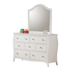 Coaster - Coaster Dominique 7 Drawer Dresser and Mirror Set in White Finish - Coaster - Dressers - 400563400564PKG - Coaster Dominique 7 Drawer Dresser in White Finish