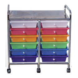 ECR4Kids 12-Drawer Mobile Organizer - This colorful 12-drawer mobile organizer is fun and practical. Store kids' art supplies in the pull-out drawers and then roll it under almost any table or desk. The chrome shelf on top can be used to store additional items too.