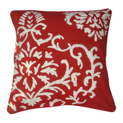 Crewel Fabric World - Crewel Pillow Barreoir White on Exotic Red Cotton 20x20 Inches - Inspired by the simplicity and the elegance of this pattern, we added this to our collection of pillows to bring classic elements with a modern twist and a burst of color into your home.
