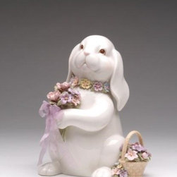 CG - 8 Inch Ceramic White Bunny Figurine Holding a Bouquet with Basket - This gorgeous 8 Inch Ceramic White Bunny Figurine Holding a Bouquet with Basket has the finest details and highest quality you will find anywhere! 8 Inch Ceramic White Bunny Figurine Holding a Bouquet with Basket is truly remarkable.