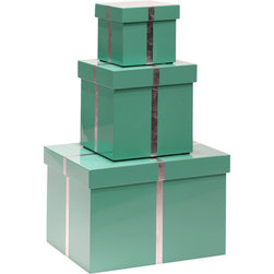Bungalow 5 - Bungalow 5 Chiffany Rectangle Nesting Boxes, Set of 3 - Elevate organization with a trio of lacquered, lidded organizers that pays homage to the iconic little blue box. Conceived by Bungalow 5's team of New York-based architects and designers, they can be used as chic stacked storage, double as wrapping and gift, and neatly nest when not in use. Includes three boxesBlue and silver lacquerLargest box: 10.5'' W x 6.75'' H x 7.75'' D