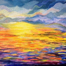 Impressionist Sunset (Original) By Jessa Little - This is a study taken from my original large scale sunset works. There is nothing more peaceful than watching the sun fall into the ocean after a long day. In my series of sunset paintings, my goal is to bring that peace into the home while the painting is hanging in one's bedroom or bathroom, ect.