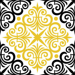 Odhams Press - Chartwell Yellow RETile Decal, Clear Background - RETile decals can be used to accent or transform your existing ceramic, stone or glass tiles. They are easy to apply and can be removed in the future without leaving a sticky residue.