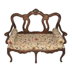 """Pre-owned Hand Carved Crewel Settee - An elegantly hand-carved settee with crewel upholstery and two bolsters. It would look lovely in an entryway, or on one side of a dining table. It's in perfect condition, but sans maker's mark. Seat, 18""""H"""