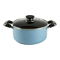Vinaroz - 13-Quart Non Stick Aluminum Casserole Pan with Glass Lid with Vent - The Vinaroz Vera Series VAN-13QT-BL Ultra Heavy-Gauge Aluminum Non-Stick Casserole, in blue, features a durable, dishwasher-safe, non-stick coating for fast and easy cleanup. The ultra heavy-Gauge aluminum construction provides rapid and even heat distribution. The sparkling, tempered-Glass lid offers visibility during the cooking process and comes with a vent to allow the steam to escape preventing boilovers. Plus, the contoured bakelite handles with heat protector offer safety by staying cool during cooking. 13-Quart capacity casserole with ultra heavy-Gauge aluminum construction.