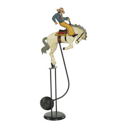 """Inviting Home - Rodeo Balance Toy - rodeo balance toy; 10-1/4""""x 4-1/4""""x 23-1/2""""H; Rodeo balance toy. Functioning skyhook replica of 18 and 19th C. classic seasonal accessories. - hand made from recycled metal sheet; - cut by hand using original templates; - hand painted in great details; - finished in aged patina waxed; - counterweight calibrated to create swing; - come with matching metal stand; Gadgets inspired by science were popular in Victorian times. People loved demonstrations of the seemingly impossible. Optical illusions magnetic forces the laws of gravity all seemed magical in an era when society was changing fast and industrial revolution was unstoppable. Skyhooks could be set on a shelf or the rim of the table and set in motion to everybody's delight and amazement."""