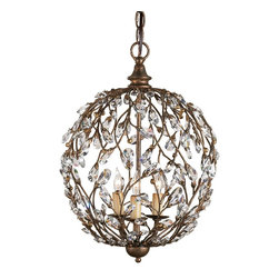 Currey & Company - Currey & Company Crystal Bud Sphere Chandelier CC-9652 - The crystal bud elements accent the vine effect in this ball lantern design chandelier.