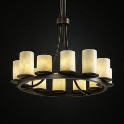"""Justice Design Group - Justice Design Group CLD-8763 Dakota 12 Light Tall Ring Chandelier Clou - Justice Design Group CLD-8763 Dakota 12 Light Tall Ring Chandelier from the Clouds CollectionThe Clouds Collection is the perfect choice for design applications that require a clean, """"soft-contemporary"""" look. With a composition of neutral color tones, this collection will add a warm ambient glow to any decor.From an elegant lamp atop a contemporary end table to a dramatic sconce illuminating a formal entryway, Justice Design offers a wide array of lighting solutions for residential and commercial settings. Create a mood, complement a theme, or simply add the perfect accent with a Justice Design decorative lighting fixture."""