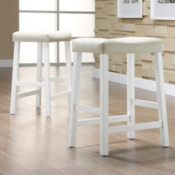 Scottsdale Saddle Counter Stool White - Set of 2 - Think bright and think white with the Scottsdale Saddle Counter Stool White - Set of 2. Ideal for lighter-toned decors, this pretty pair of counter stools has a sturdy frame made of Asian hardwood and finished in a versatile white color. The clean, contemporary lines are both simple and striking, and the vinyl upholstery is both comfy and a breeze to clean. Pulling up a chair has never been so perfect. Some simple assembly will be required. Please note: This item is not intended for commercial use. Warranty applies to residential use only.About Homelegance, Inc.Homelegance takes pride in offering only the highest quality home furnishings that incorporate innovative design at the best value. From dining sets to mirrors, sofas, and accessories, Homelegance strives to provide customers with a wide breadth and depth of selection as well as the most complete and satisfying service available for their category. Homelegance distribution centers are conveniently located throughout the United States and Canada.