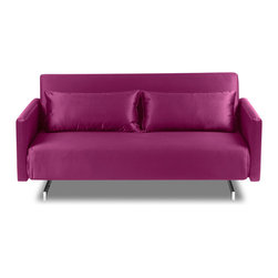 """furnitive - Dendera B Pink Gloss Sleeper Sofa - If your room or office is too small for a convensional sleeper bed, the Dendera B Sofa Bed could very well fit. With a width of only 53.1"""", the Dendera B bed couch makes it possible to accomodate for guests in stylish comfort, even if space is tight."""