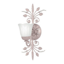 Crystorama - Crystorama 4741-BH Primrose 1 Light Wall Sconces in Blush - Wrought iron Blush wall sconce adorned with clear beads and white Scavo glass.