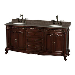 "Wyndham Collection - Edinburgh 72"" Bathroom Vanity in Cherry,Brown Granite Top,UM Oval Sinks, No Mirs - Form and function collide beautifully in the Edinburgh bathroom vanities. Inspired by the classic designs of Victorian England, this collection is a hallmark of taste and style, destined to become an heirloom and to lend a subtle grace to your bathroom environment. Richness of finish, beautiful composition and great attention to detail are the marks of this series."