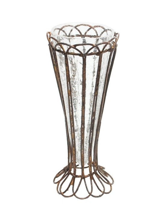 Aiden Gray - Four Rusted Tulip Vases - The only thing more charming than a bouquet of tulips would have to be a bouquet of tulips in this shabby chic vase. The hand-bent, rusted wire exterior would add a rustic-French look to a dining table.