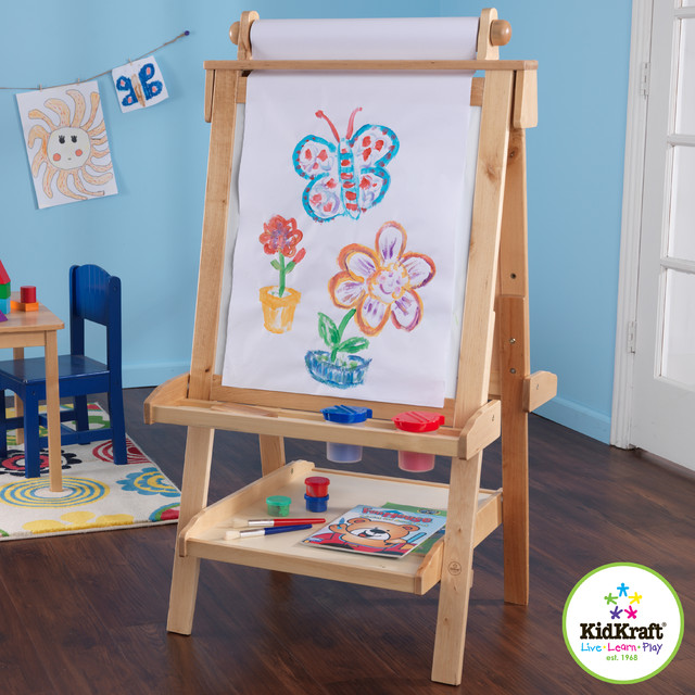 Kids Deluxe Wood Easel In Natural Color Traditional