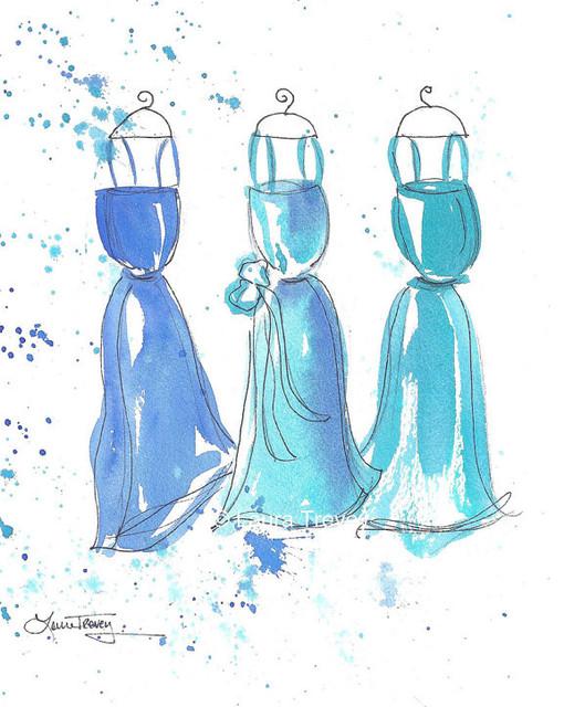 Blue Dresses Original Painting modern-artwork