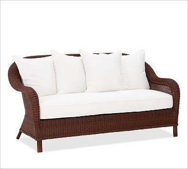 Palmetto All-Weather Wicker Sofa, Honey traditional-sofas