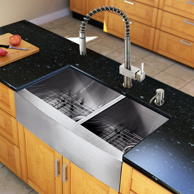 Modern Sinks For Kitchen : ... Farmhouse Double Bowl Kitchen Sink and Faucet Set modern-kitchen-sinks