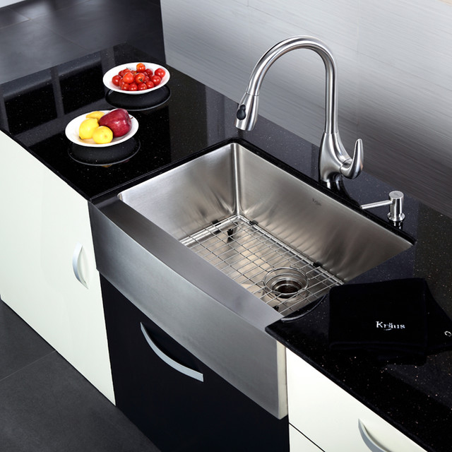 Kraus KHF200-30-KPF2170-SD20 30 inch Farmhouse Sink and Faucet Combo ...