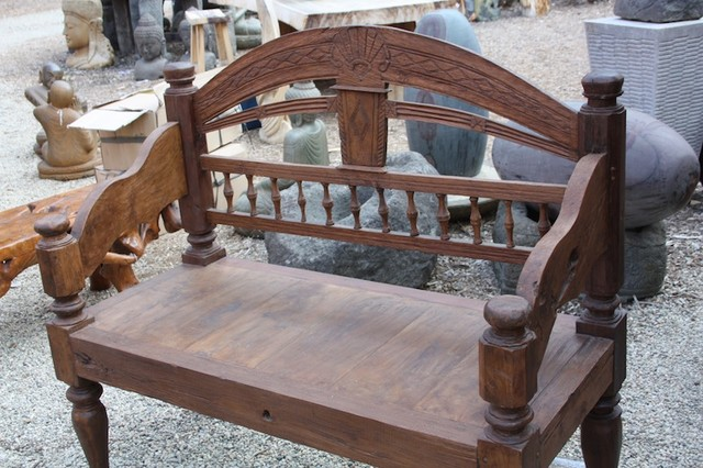 Hand Carved Teak Bench from Bali eclectic-indoor-benches
