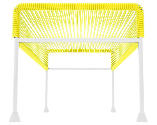 Adam Ottoman, White Frame With Yellow Weave - Sleek woven vinyl makes this coffee table stand really pop. It's a great option for indoor and outdoor use since the vinyl is UV protected and the metal base is galvanized. The only challenge would be deciding on your favorite color top to pair with the crisp white base.
