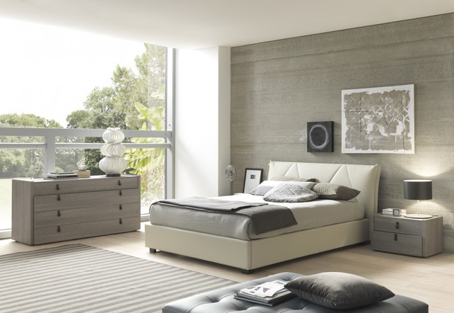 eco leather bedroom set in grey beige modern bedroom furniture sets