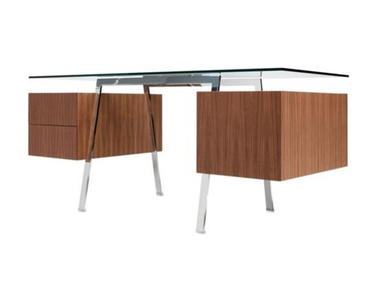 """Bensen - Homework Desk, Double Drawer - An elegant solution for home or office, the nicely scaled Homework Desk (2009) is crafted of select materials and is attractive from all sides. The desk's balanced proportions are characteristic of Niels Bendtsen's work, and he maintains the desk's airy look through an innovative detail that allows the drawers to """"float"""" below the glass. In the 1960s, Bendtsen was importing Scandinavian furniture, but began designing his own when he couldn't find the quality and aesthetics he wanted. Bendtsen's work is in the permanent collection of MoMA, and he was honored with the 2006 British Columbia Creative Achievement Award of Distinction. Made in Canada.  The drawers on the right are equipped with a sliding back panel for cable management.  The file drawer on the left can be adjusted for letter- or legal-size files. Soft-closing drawer glides move silently and prevent slamming (thus, the interior contents stay in place.). Because the drawers are cantilevered from the frame, there are additional surfaces for storage or display between the top of the drawers and the glass."""