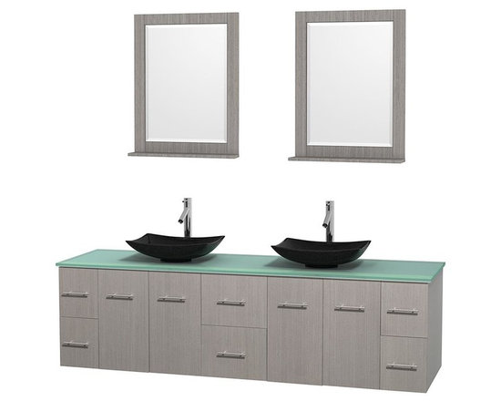 Wyndham Collection - 80 in. Double Bathroom Vanity in Gray Oak, Green Glass Countertop, Arista Black - Simplicity and elegance combine in the perfect lines of the Centra vanity by the Wyndham Collection . If cutting-edge contemporary design is your style then the Centra vanity is for you - modern, chic and built to last a lifetime. Available with green glass, pure white man-made stone, ivory marble or white carrera marble counters, with stunning vessel or undermount sink(s) and matching mirror(s). Featuring soft close door hinges, drawer glides, and meticulously finished with brushed chrome hardware. The attention to detail on this beautiful vanity is second to none.