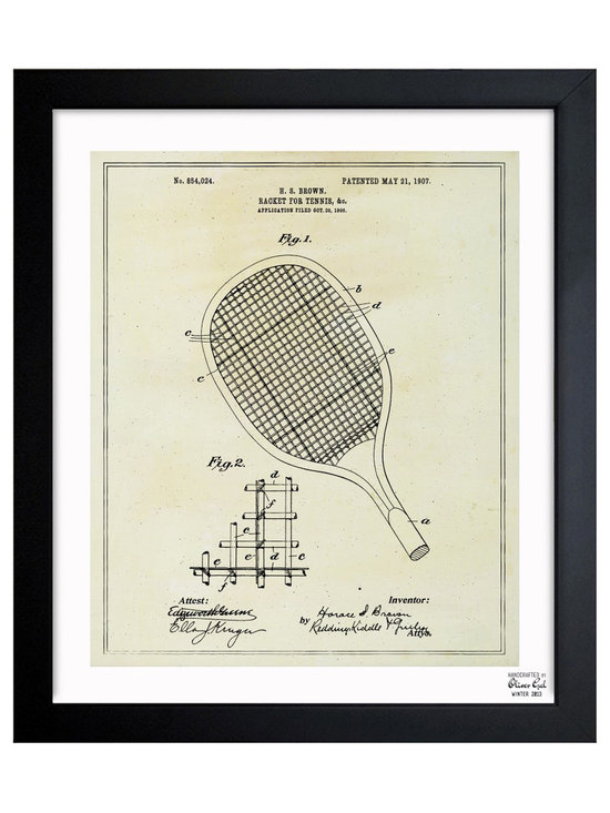 """The Oliver Gal Artist Co. - ''Tennis Racket 1907' Framed Art - Exclusive blueprints inspired by real vintage patent drawings & illustrations. Handcrafted in the Oliver Gal Artist Co. Studios in Miami, Florida. Produced on matte proofing paper and hand framed by professional framers in a 1.2"""" premium black wood frame. Perfect for any interior design project, gifts, office décor, or to add special value to one of your favorite collections."""