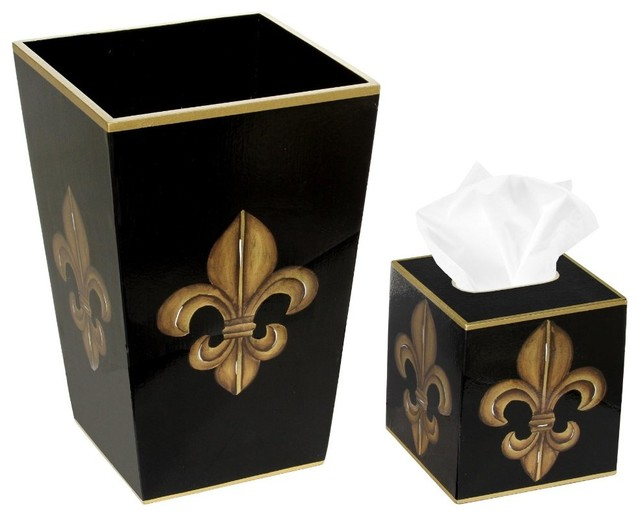 Trash Bin With Tissue Box Cover, Black and Gold Fleur-de-Lis - Traditional - Tissue Box Holders ...