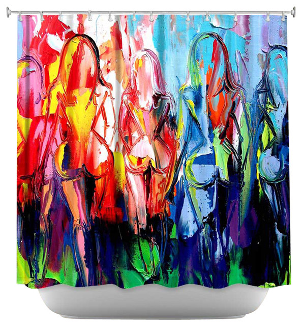 Shower Curtain Artistic - In the Company of Strangers contemporary-shower-curtains