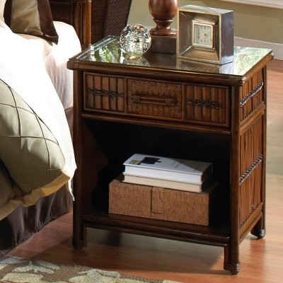 Hospitality Rattan Polynesian One Drawer Nightstand - Antique modern-nightstands-and-bedside-tables