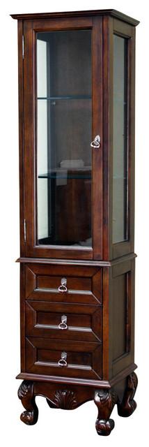 Linen Cabinet Wood Walnut Modern Bathroom Storage By