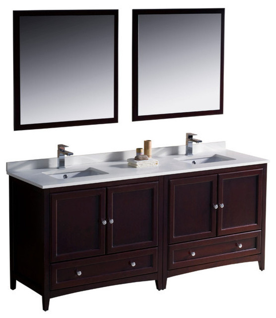 72 inch double sink bathroom vanity in antique white - Antique traditional bathroom vanities design ...
