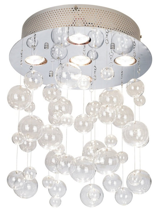 "Possini Euro Design - Possini Euro Bubbles 13 3/4"" Wide Ceiling Light Fixture - Hanging this semi-flushmount ceiling light brings an elegant sparkle into any space. Chrome and glass combines for shimmer and contemporary appeal. Clear glass ""bubbles"" dangle gracefully while being illuminated by generous halogen light. From the Possini Euro Design Lighting Collection. Chrome finish. Clear glass bubbles. Includes five 20 watt halogen bulbs. 13 3/4"" wide. 14"" high.  Chrome finish.   Clear glass bubbles.   Includes five 20 watt halogen bulbs.   13 3/4"" wide.   14"" high."