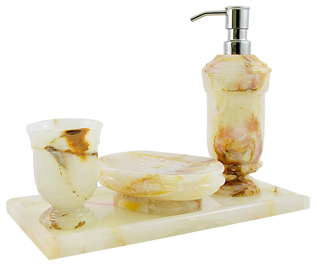 Nature home decor white onyx set with vanity tray for Bathroom accessories with tray