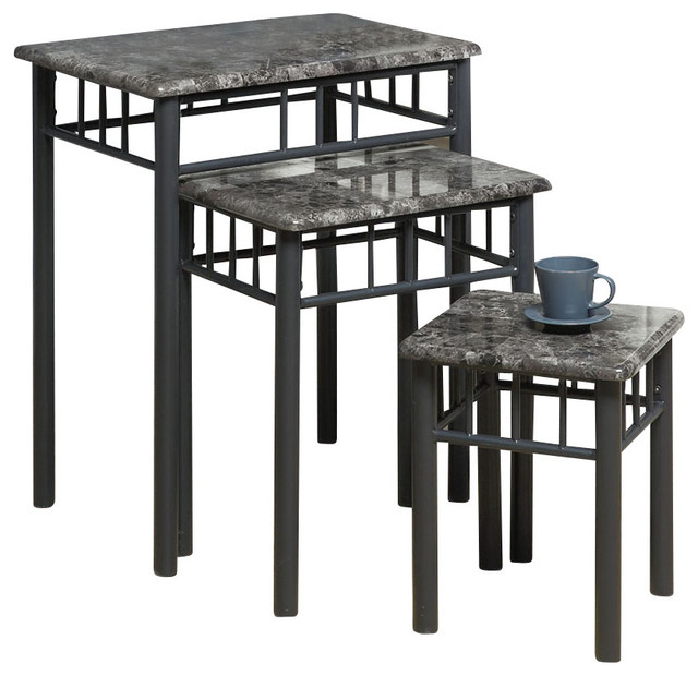 Monarch specialties 3061 3 piece nesting table set in grey for Grey marble coffee table set