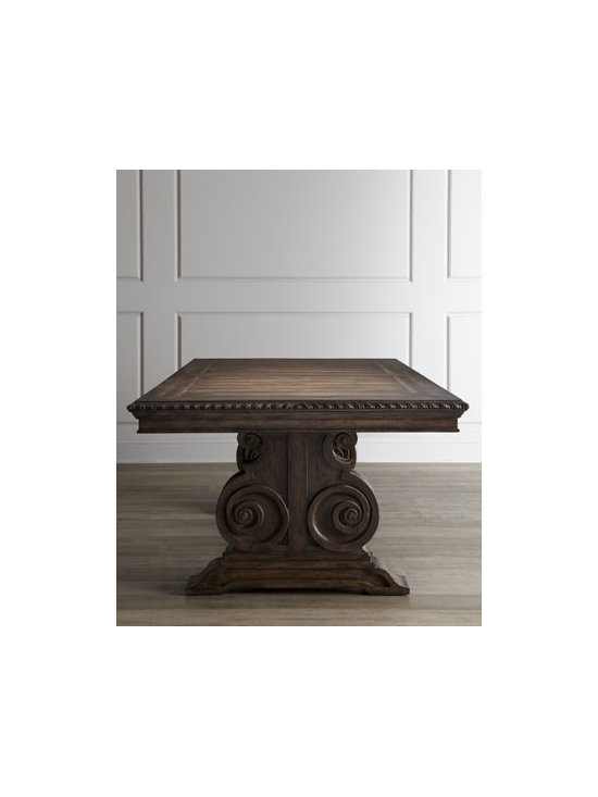 """Horchow - Donabella Dining Table - Traditional dining table adorned with beautiful carved details sets the stage for both casual and formal occasions. And it's nicely scaled for comfort. Made of hardwood solids, laminated lumber, veneers, and resin. Scrolled base. Comes with two 20""""W...."""
