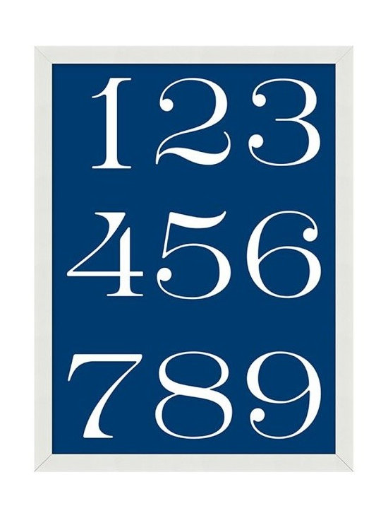 Indigo Numbers Framed Print -