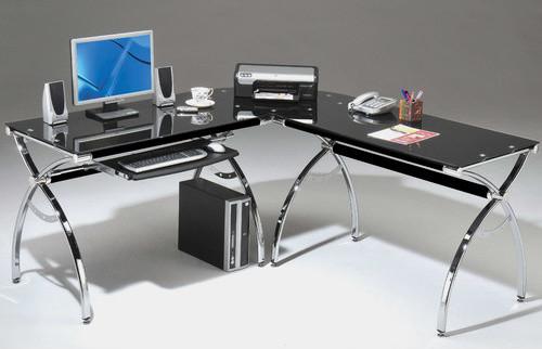 L Shaped Glass Computer Desk With Chrome Frame Modern
