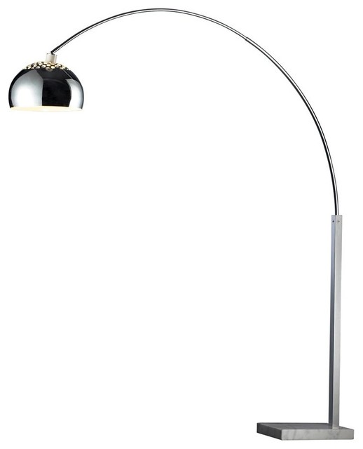 penbrook arc lamp in silver plated and white marble. Black Bedroom Furniture Sets. Home Design Ideas