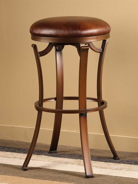 Hillsdale Furniture - Backless Swivel Stool (26 in. Counter Height) - Choose Size: 26 in. Counter HeightElegant flat legsPolished bronze finishCopper-hued 360 degree swivel seat. 17 in. W x 17 in. D x 26 in. H (15 lbs.)Backless and simple in design, the Kelford is the perfect accompaniment to already busy spaces. The Kelford boasts a set of elegant flat legs, as well as a classical polished bronze finish and copper-hued 360 degree swivel seat.
