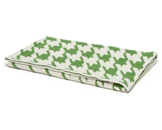 "in2green - Eco Baby Houndstooth Throw, Avocado/Milk - Our throws are all knit in the USA with a blend of recycled cotton yarn (74% recycled cotton yarn, 24% acrylic, 2% other), generously sized at 50"" x 60"" and machine wash and dry...how easy is that!"