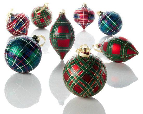 Jeffrey Banks Plaid Tidings Glass Ornaments -