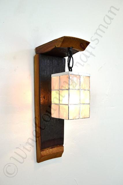 Hanging Wall Sconce Light : Wine Barrel Ring Wall Sconce Hanging Pendant Light with Oyster shell shade - Wall Lighting ...
