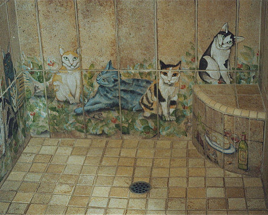 Roman Shower Design with Cats - This customer wanted the roman shower design, and with her love for cats created a bathroom with beautiful cats all around the room, and even in her sinks. This was a fun project, and especially working with this client. Each tile I hand painted, and high fired in a kiln.